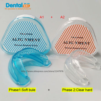 New 2Pcs/lot Dental Tooth Orthodontic Appliance Trainer Alignment Braces Mouthpieces On Sale Teeth Care new type tooth orthodontic dental appliance trainer pro alignment braces mouthpieces for teeth straight alignment teeth care