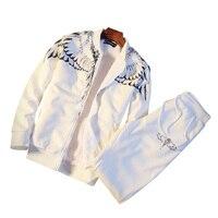 Marchio di Abbigliamento Moda Maschile Tuta SportSuit Casuale Uomo Primavera/Autunno Hoodies/Felpe Coat + Pant Tuta SINISTRA ROM