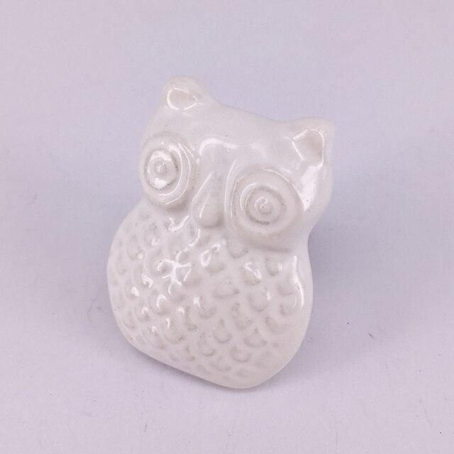 White Ceramic Owl Drawer Pull Cabinet Furniture Hardware Handle Decorative Nursery Decor