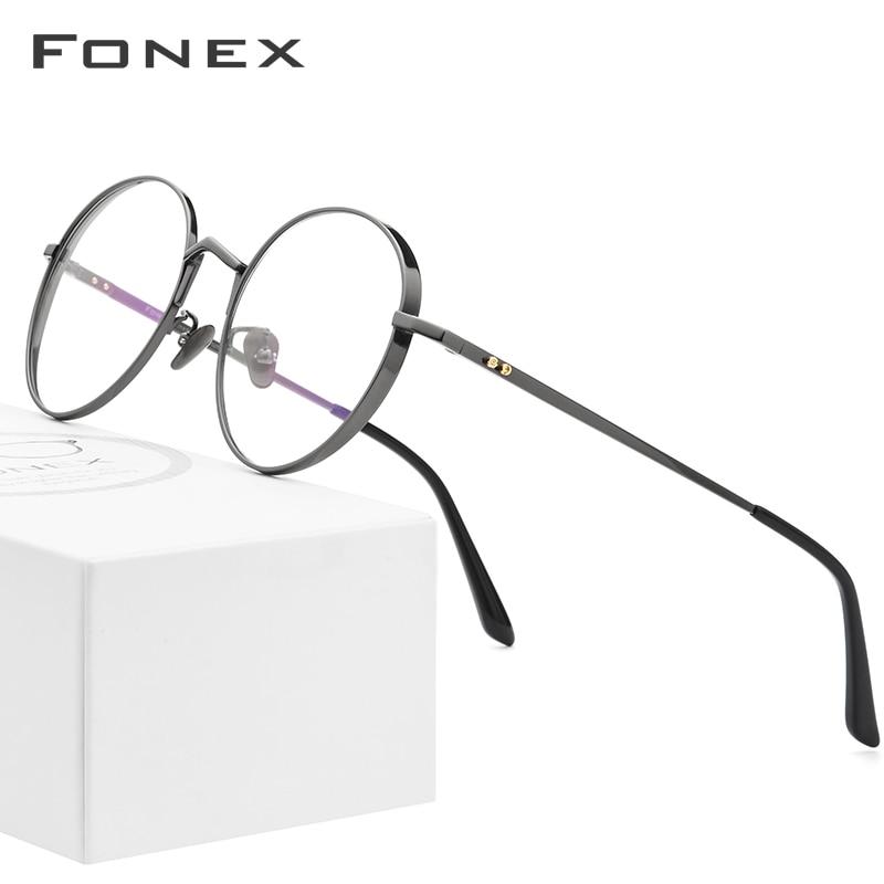 Pure Titanium Glasses Frame Men Ultralight Retro Round Myopia Optical Prescription Eyeglasses Frames Women Vintage Eyewear