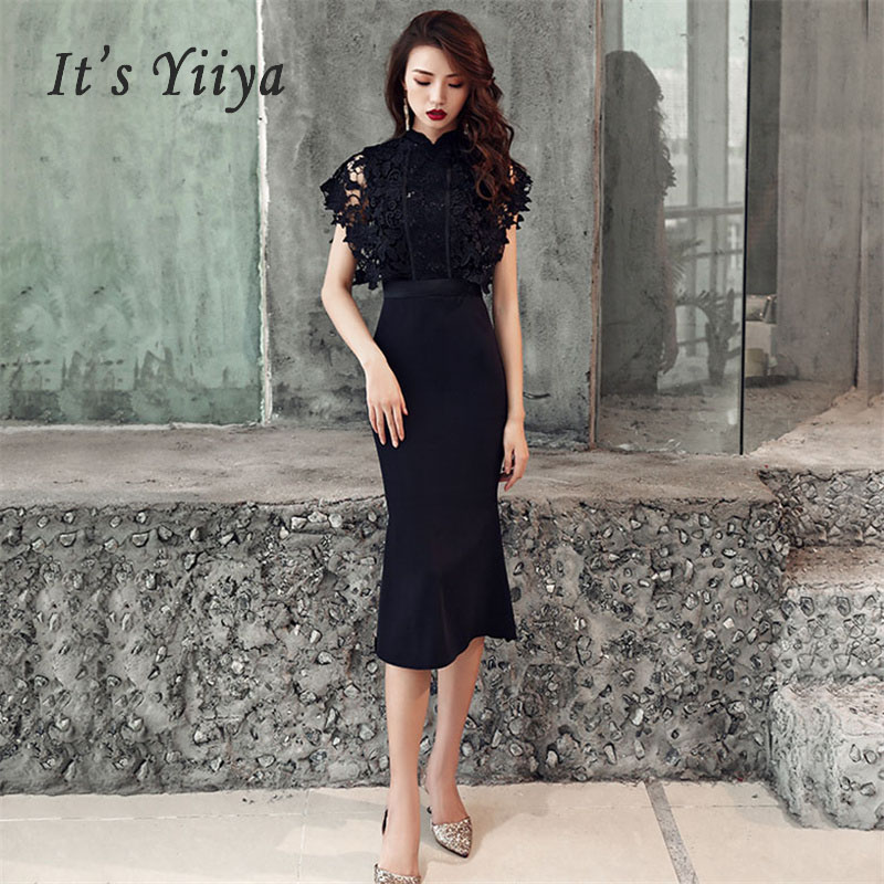 Evening Dress Floral Lace Standing Collar Long Women Party Dress 2019 Slim Robe De Soiree Plus Size Sleeveless Prom Dresses E474