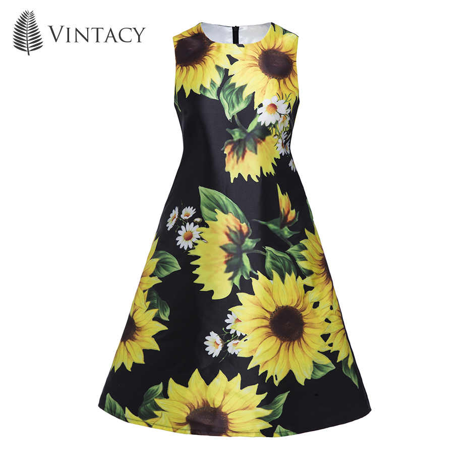 0b4fa1f7a6a ... Vintacy Women Black Floral Mini Dress Sleeveless Large Sizes A Line  Short Beach Sundress Sunflower Fashion ...
