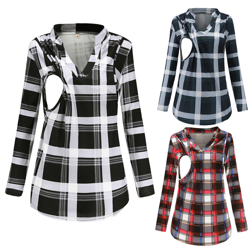 Spring Casual Maternity Blouse V-Neck Plaid Printing Pregnant Shirts with Breastfeeding Long Sleeve Pregnancy Clothing Tops