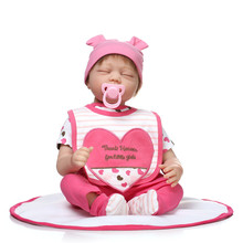 Sweet 55cm NPK Brand Reborn Educational Doll With Pink Cotton Made Garment Interactive Beneca Reborn Silicone  As Christmas Gift