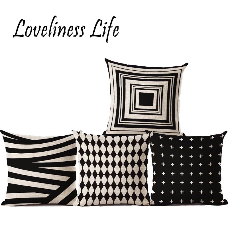 Commercio estero Nordic Semplice Bianco Nero Geometrico Cuscino - Tessili per la casa