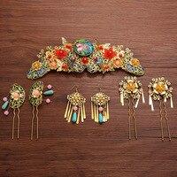 O casamento da noiva cocar decorado enfeites de cabelo de ouro terno Chinês retro acessórios jóias definir um phoenix coroa