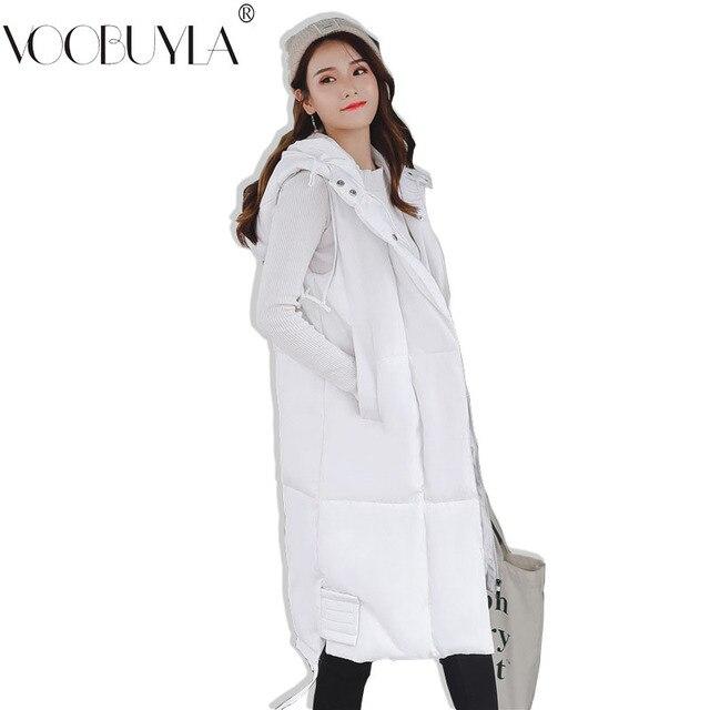 Voobuyla Plus Size 5XL Long Vest Women Sleeveless Jacket Down Cotton Warm Vest Mujer 2018 Autumn Winter Hoodies Waistcoat Female