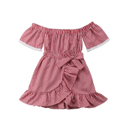 Summer Kid Baby Girl Clothing Dresses Off Shoulder Bowknot Print Dress Plaid Party Clothes Girls 1-5T plaid print back slit pencil dress