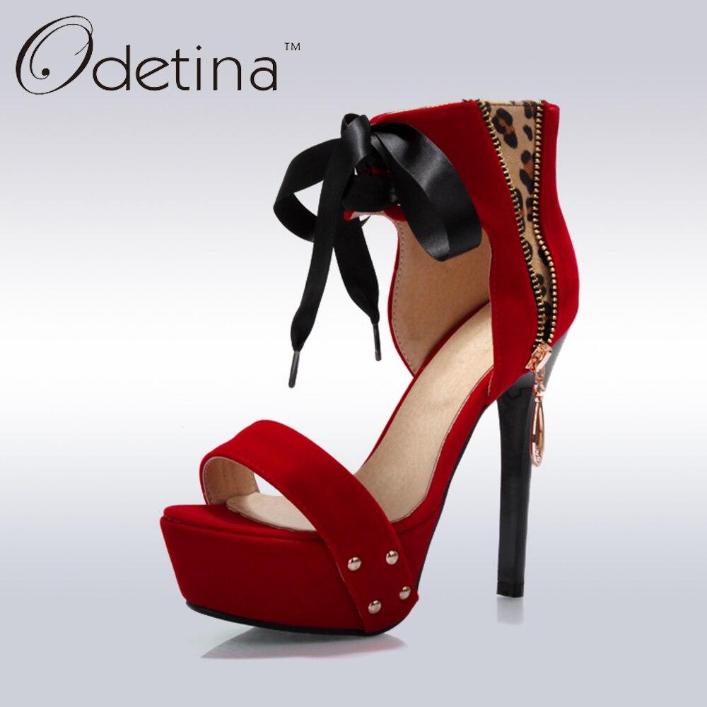 Odetina 2017 Fashion Faux Suede Womens Ankle Wrap Sandals Super High Heels Ladies Shoes Lace Up Stiletto Heel Platform Sandals denim zipper hollow worn stiletto womens sandals