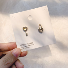 S925 Sterling Silver Mini Key Earring Feminine Temperament Personality Contracted Asymmetrical Lock Ear Stud