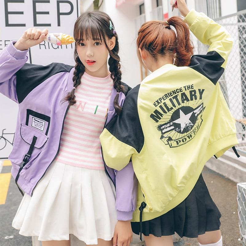 2017 Women'S Harajuku Korean Paste Printing Baseball Jacket Windbreaker Female Cute Japanese Kawaii Bomber Coat For Women