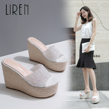 Liren 2019 Summer New Women Fashion Super High Heel Waterproof Hemp Rope Wedge Rhinestone Slippers Size 34-39 Ladies