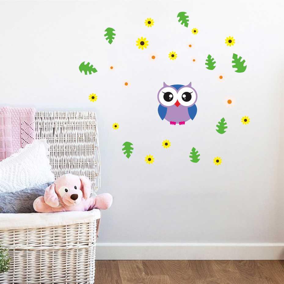 Cartoon Baby Owl Bird leaf Flowers Wall Sticker For Kids ...