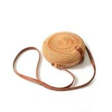 INS new ladies hand-woven bag round rattan retro literary ha