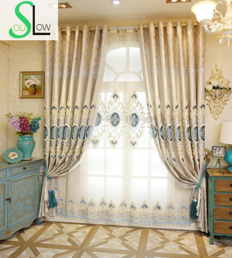 Slow Soul Silk Embroidered Velvet European Style Curtains