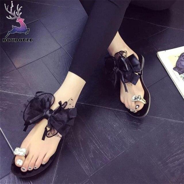 6c89711ded183 Mujeres flor arco talón plano toe sandalias playa zapatos casual zapatos  mujer verano flip flops mujer