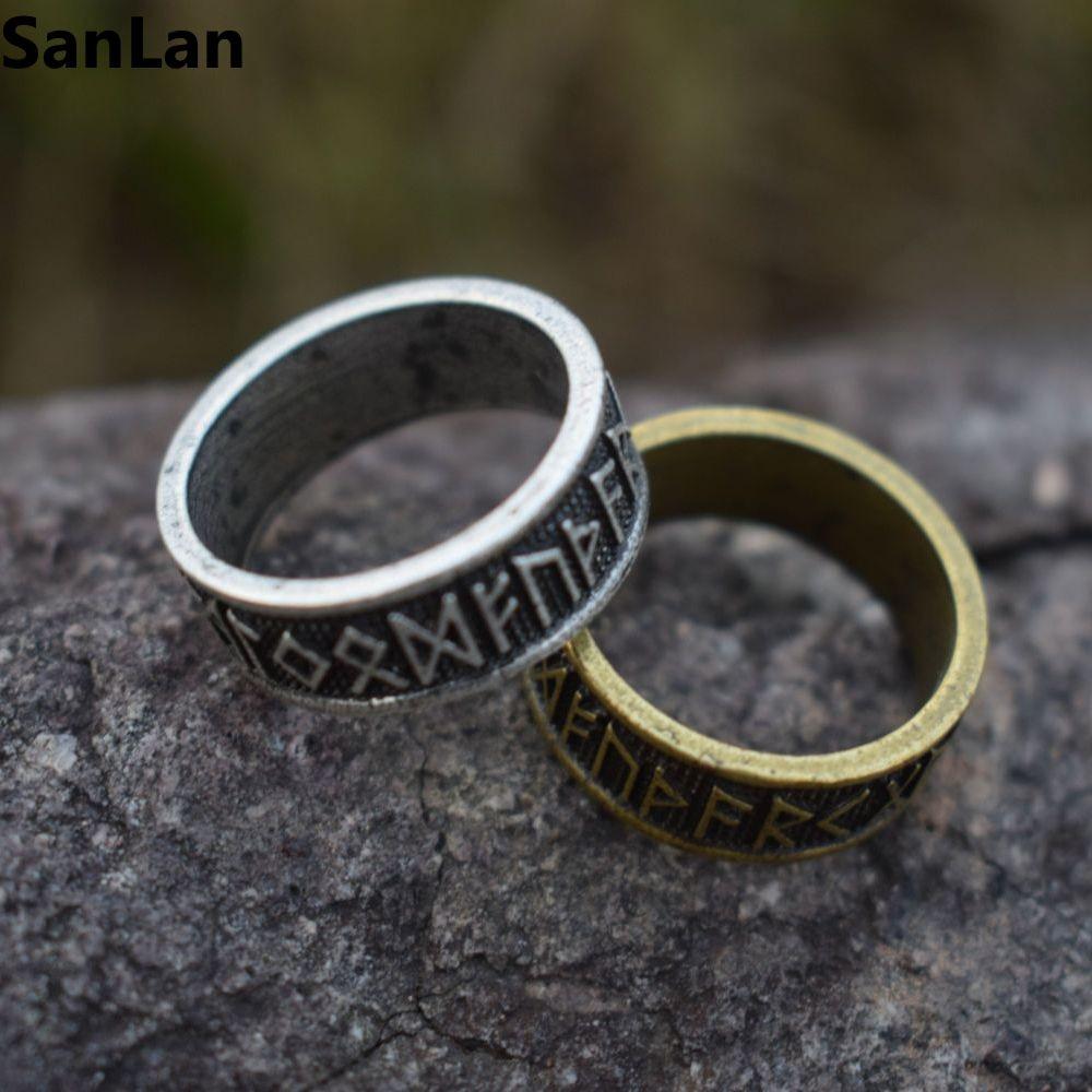 1pcs Drop Shipping Elder Futhark Asatru Nordic Celtic Viking Pagan Norse  Rune Ring Vintage Men Jewelry