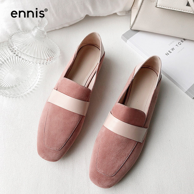 9575f96590b ENNIS 2019 Ladies Leather Loafers Shoes Women Suede Flat Casual Shoes Round  Toe Sweet Flats Fashion Designer Female Shoes C909
