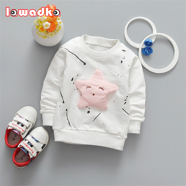 Dziecko Dziewczyny Chłopcy koszulka Z Długim Rękawem Gwiazdy Wzór Sportowe koszulki dla dziewczynek Bawełniane Ubrania Dla Dzieci