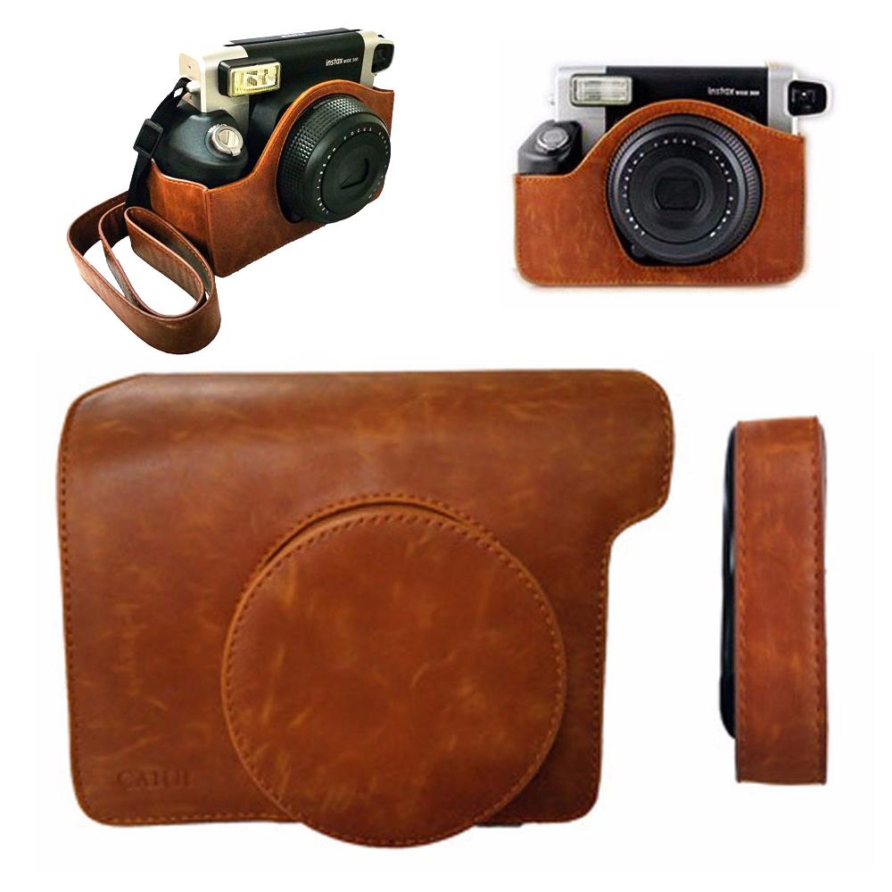 Prix pour Pour fuji fujifilm instax large 300 instant photo caméra en cuir brun sac carry case cover protecteur de poche avec bandoulière