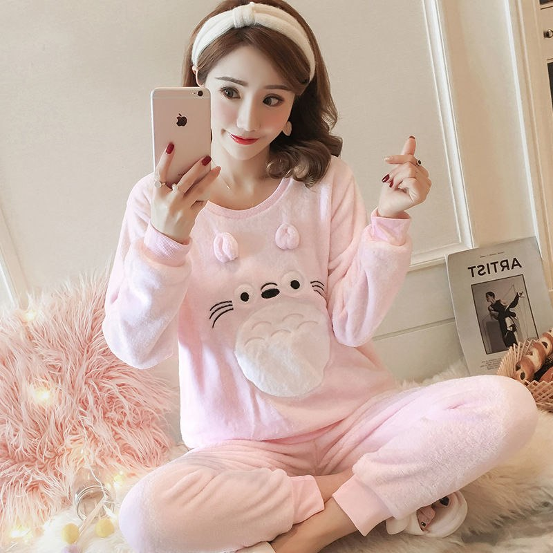 High Quality Women Pajama Sets Winter Soft Thicken Cute Cartoon Flannel Sleepwear 2 pcs/Set Tops + Warm Pants Home Clothes Mujer 83