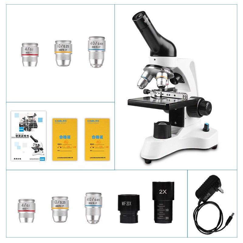 CIWA 1600X professionnel microscope Biologique binoculaire HD expérience Scientifique LED Illumination monoculaire jumelles Microscope
