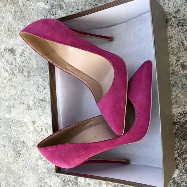 Keshangjia Top Quality Woman Hot Pink High Heel Slip-on Wedding Shoes Pointed Toe Evening Party stilettos Heel Pump 5