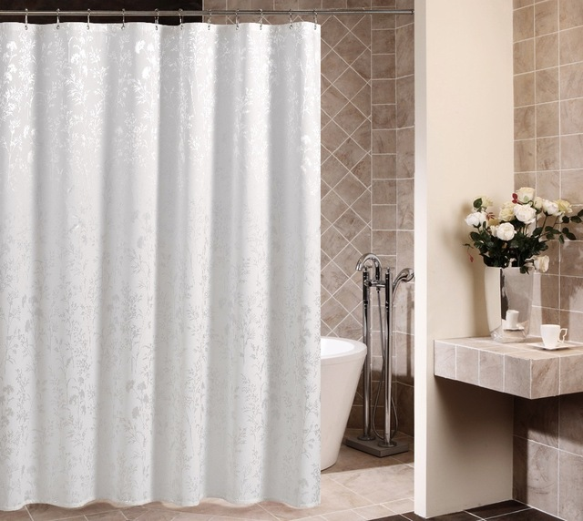 Becan Simple IKEA Style White Satin Polyester Fabric Shower Curtain Waterproof Mildew Send Plastic Hooks
