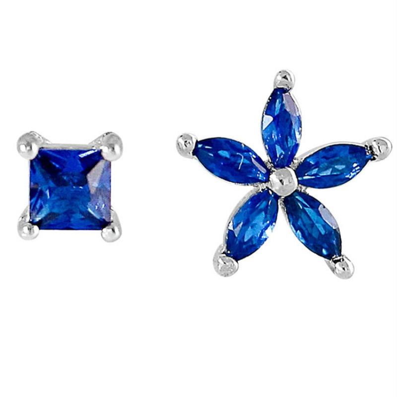 925 Sterling Silver Earrings Blue Crystal Earrings Stud Women Jewelry Asymmetrical Flower Geometric Earrings Female