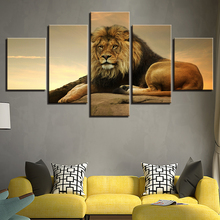 5 Pieces Canvas Painting The King Of Beasts Lion Picture Print Poster Framed Wall Art