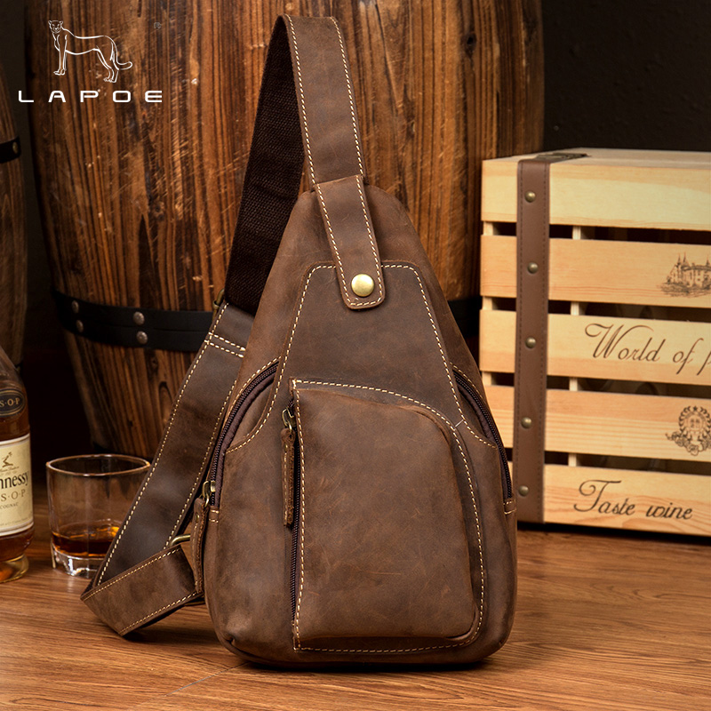 LAPOE Genuine Leather Bag Men's Crossbody Bags Men Messenger Bags Crazy Horse Leather Phone Chest Pack Waist Small Belt Bag Male bullcaptain messenger bag leather men bag genuine leather waist pack small shoulder crossbody bags fashion ipad belt chest bags