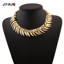 Lzhlq модное ожерелье чокер в виде рыбьей кости ожерелья геометрической