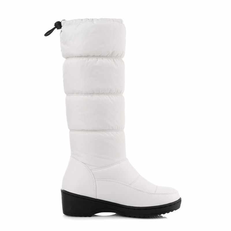 EGONERY 2019 kış aşağı kadın kar botları peluş sıcak Bahar mavi orta buzağı çizmeler yuvarlak ayak 4.5 cm topuk büyük boyutu 35-44 kadın ayakkabı
