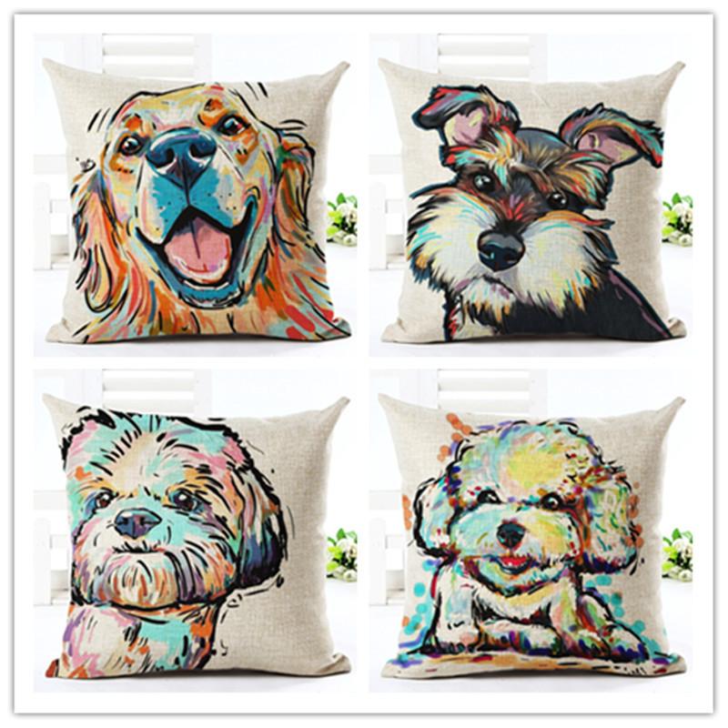 coton lin mignon color bull terrier peint de bande dessine chien teckel 3d pas cher housse - Coussin Color Pas Cher
