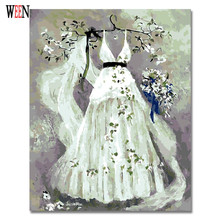 Beautiful Wedding Dress Picture Frameless or Framed Quadros De Sala Estar Canvas Lovely Oil Painting DIY Digital by Numbers