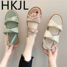 HKJL Fashion women Sandals female summer 2019 new tide beach shoes bow sandals muffin bottom thick A479