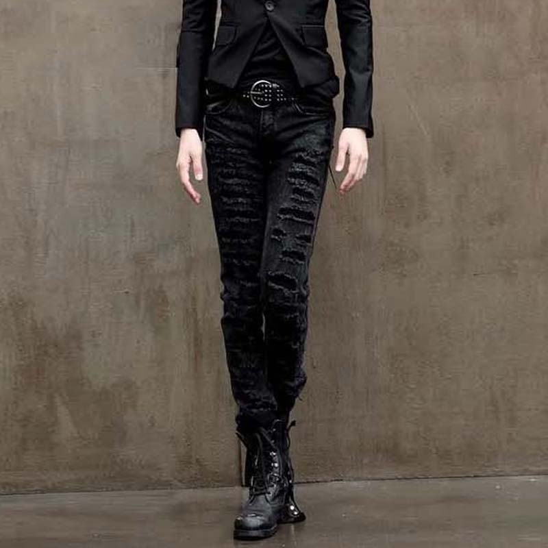 2017 New Black Ripped Jeans Fashion Personality Hole Male Korean Tidal Straight Slim Denim Pants Casual Skinny Jeans Men 8026 aberdeen hitz cat men s jeans slim korean straight hole young haren long pants