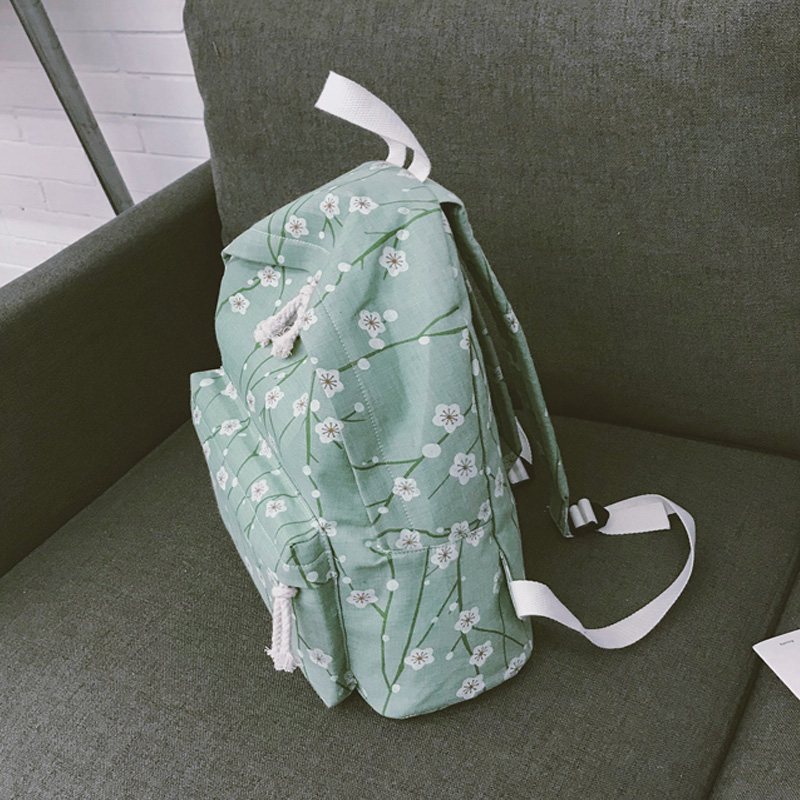 Moon Wood Japanese Style Flower Printing Backpack Preppy Style Girls School Bag Fresh Students Canvas Backpack Small Women Bag