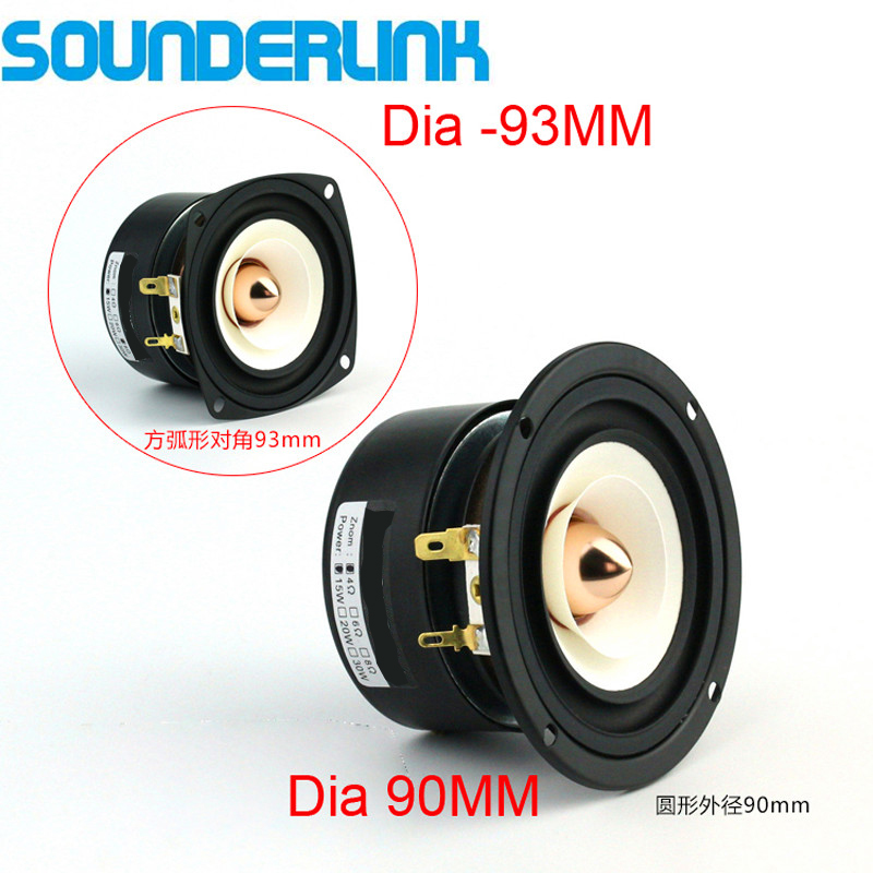 Sounderlink Full-Range Frequency-Speaker 90mm-Unit 3inch With Aluminum Bullet-Head 2pcs/Lot