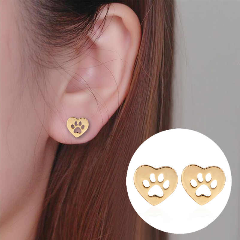 Daisies New Arrival Heart Shaped Dog Bear Paw Print Earrings Women Stud Earrings Pendientes boucle d'oreille