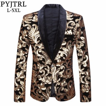 Shawl Lapel Designs Velvet Gold Flowers Sequins Suit Jacket DJ Club Stage Singer Blazer