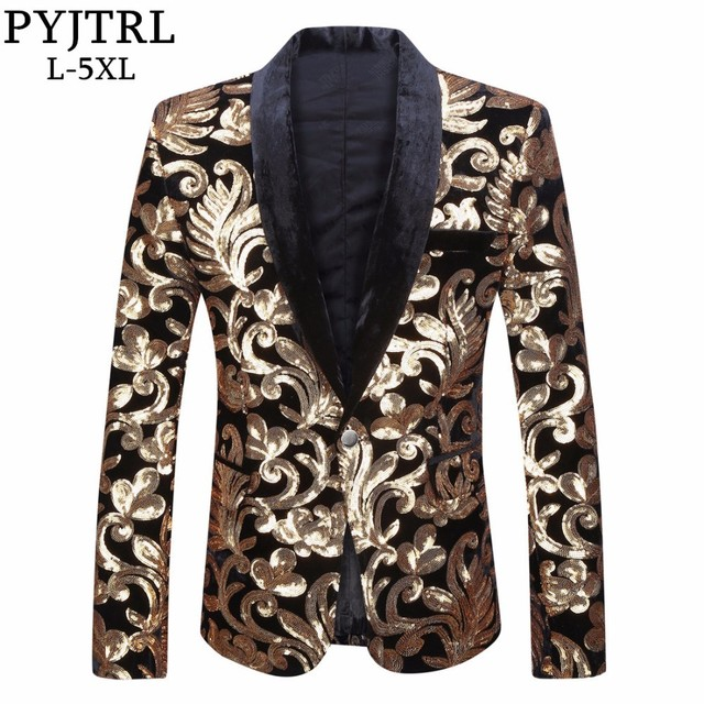 PYJTRL Men Shawl Lapel Blazer Designs Plus Size 5XL Black Velvet Gold Flowers Sequins Suit Jacket DJ Club Stage Singer Clothes