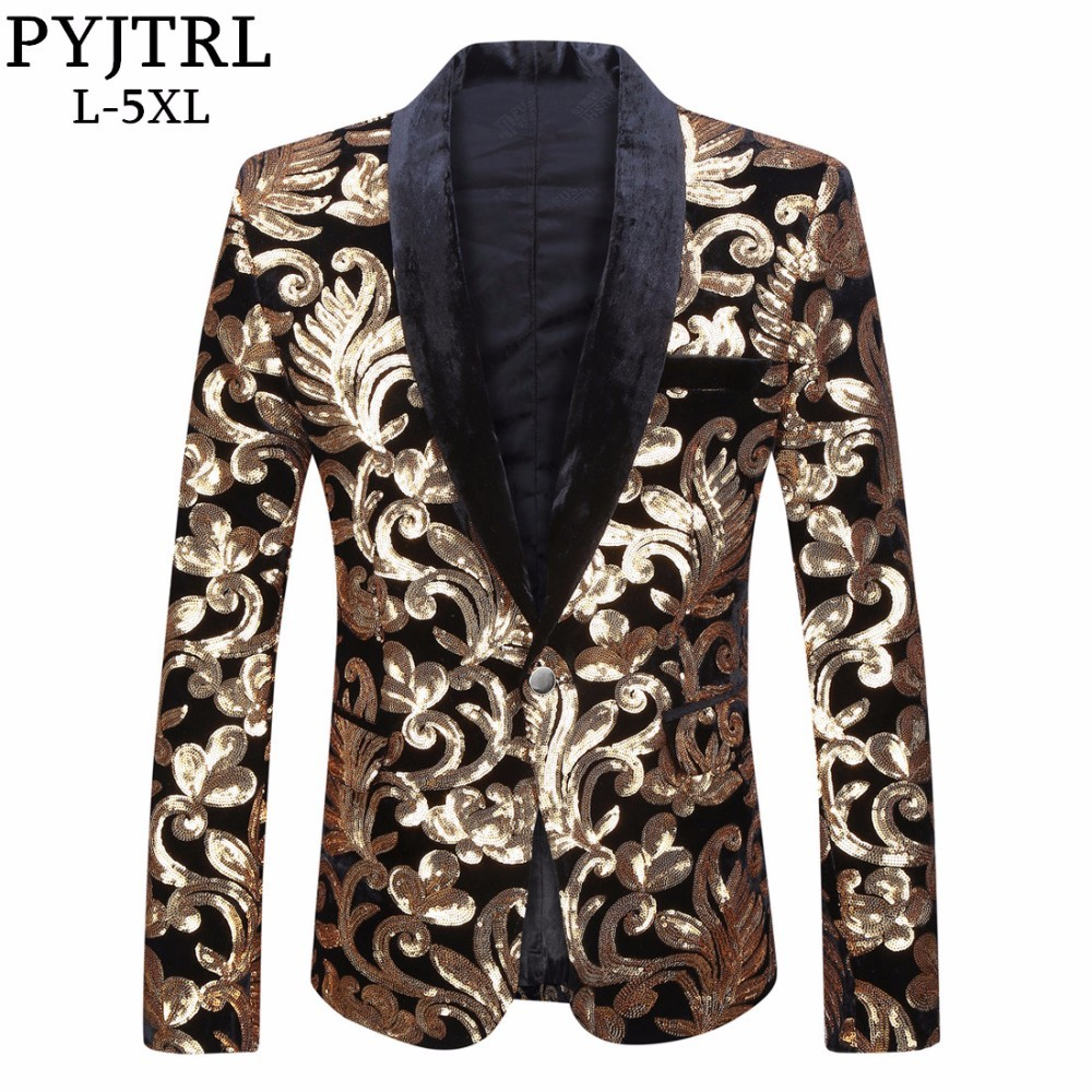 PYJTRL Men Shawl Lapel Blazer Designs Plus Size 5XL Black Velvet Gold Flowers Sequins Suit Jacket