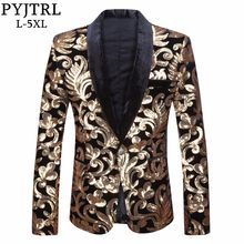 PYJTRL Men Shawl Lapel Blazer Designs Plus Size 5XL Black Velvet Gold Flowers Sequins Suit Jacket DJ Club Stage Singer Clothes(China)