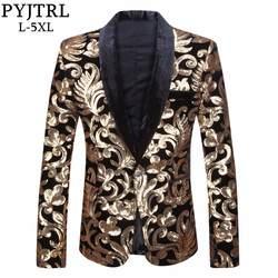 PYJTRL Мужская шаль с лацканами дизайн блейзера плюс Размеры 5XL черный бархат золотые цветы костюм с пайетками куртка диджейский клубный