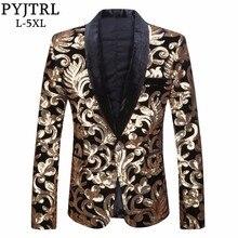 PYJTRL erkek şal yaka Blazer tasarımları artı boyutu 5XL siyah kadife altın çiçekler Sequins takım elbise ceket DJ kulübü sahne şarkıcı giysi