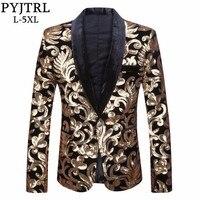PYJTRL Men Shawl Lapel Blazer Designs Plus Size 5XL Black Velvet Gold Flowers Sequins Suit Jacket DJ Club Stage Singer Clothes