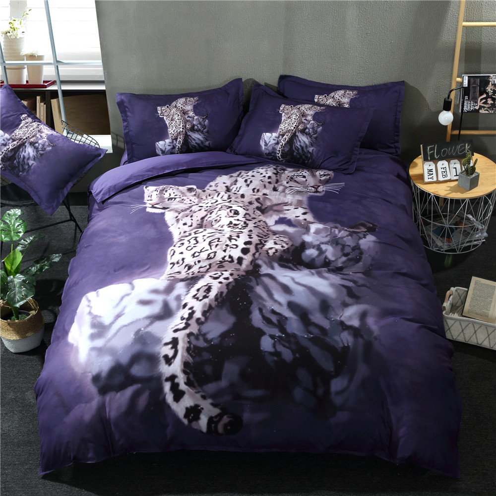PAPA&MIMA 3D Leopard Animals 3pcs Bedding Set Polyester Duvet Cover+Pillowcases Set AU Double King Queen Twin Size Dropshipping