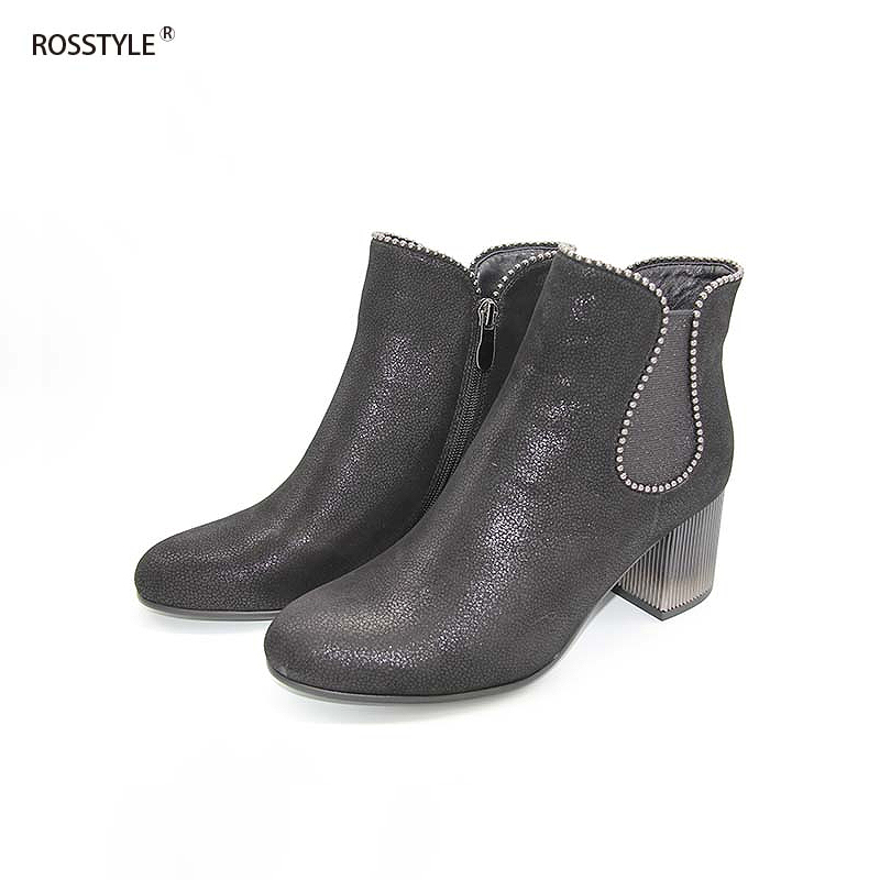 ROSSTYLE Spring Autumn Thick Heel Fleeces Ankle Boots Comfortable Round Toe Boots Ladies Party Nubuck Boots  Black Silver B10