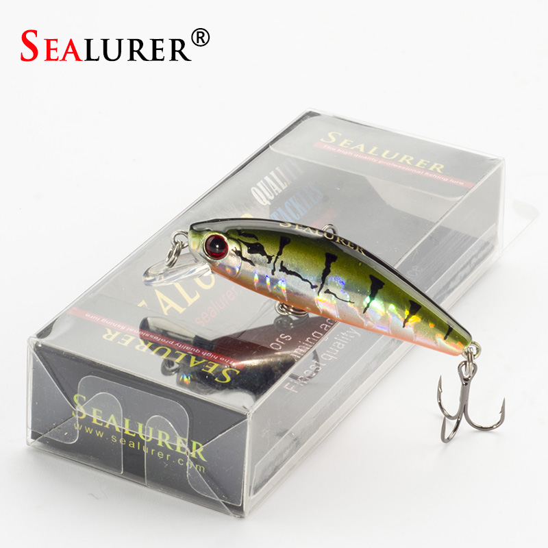 Sealurer Mini Wobbler Fishing Minnow Lures 5.5cm 6.6g Slowly Sinking Pesca Artifical Hard Baits 1pcs/lot Fishing Tackle 40pcs lot carp fishing soft floating artifical tiger nut baits pop up baits terminal tackle pellets baits sets of fishing